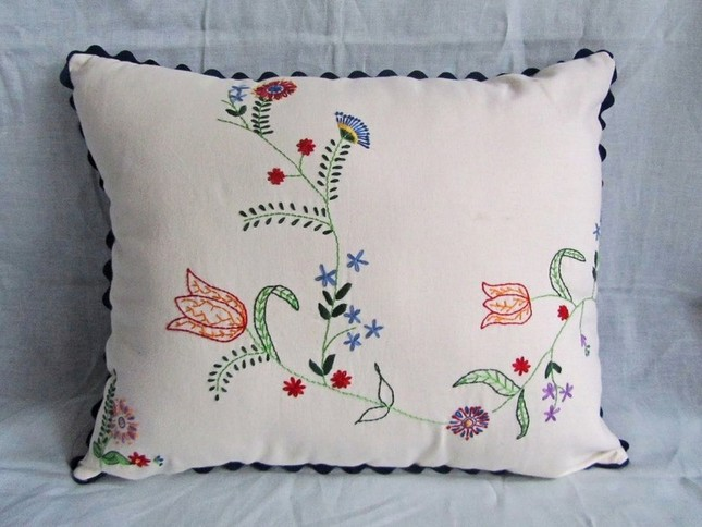 Stylish Embroidered Pillow for Elegant Bedroom Design