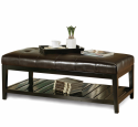 Faux leather ottoman table