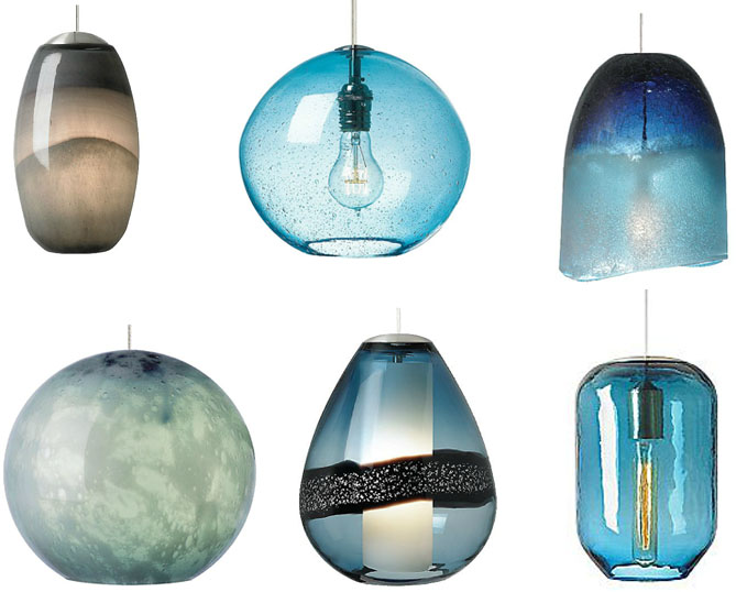Modern pendant lighting fixtures in home interior