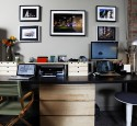 Home office computer desk black and gray