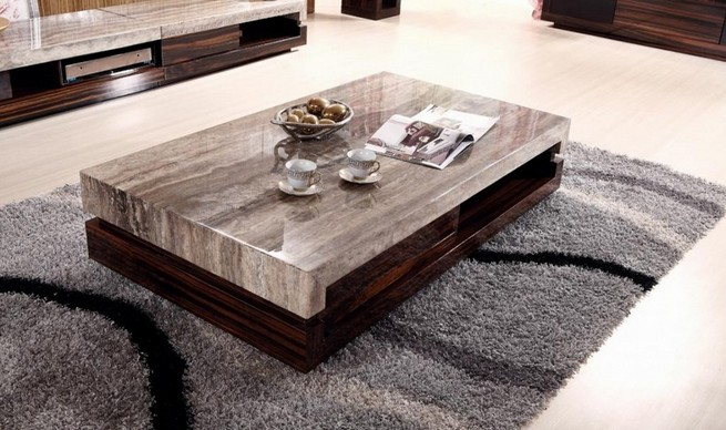 A wood coffee table in home interior