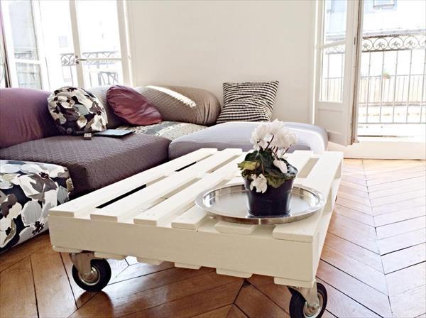 white coffee table on wheels