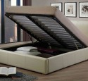 Cream faux leather ottoman double bed