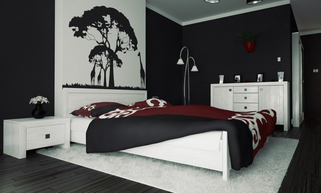 Black and white wall art with color