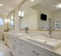 Framed mirrors over bathroom vanities