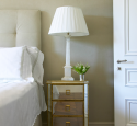 Mirrored nightstand with gold trim