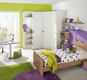 Bedroom ideas purple and green