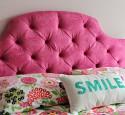 Twin tufted headboard pink
