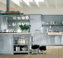 French country kitchen shelves