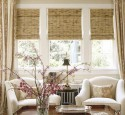 Window Treatment Ideas Layering Drapes Woven Wood Blinds