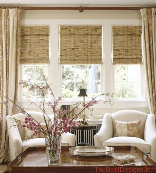 Window Treatment Ideas Layering Drapes Woven Wood Blinds