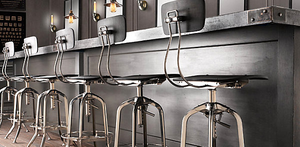 Industrial metal bar stool with back