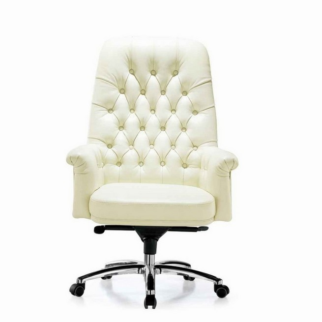 White leather office chair eames