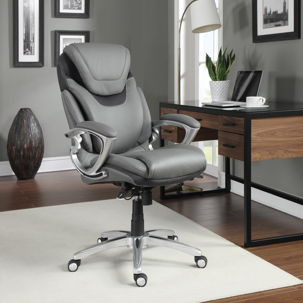 Leather office chair grey