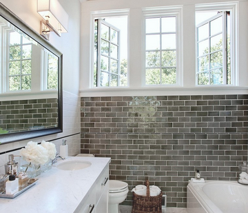 Contemporary subway tile bathroom
