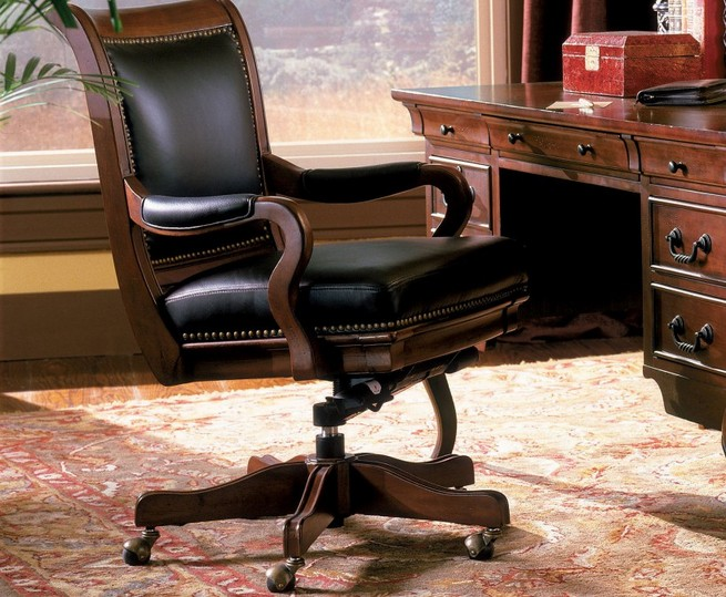 Brown leather office guest chairs