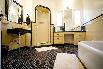Yellow subway tile Sky Blue Glass Pinterest Yellow Subway Tile Bathroom