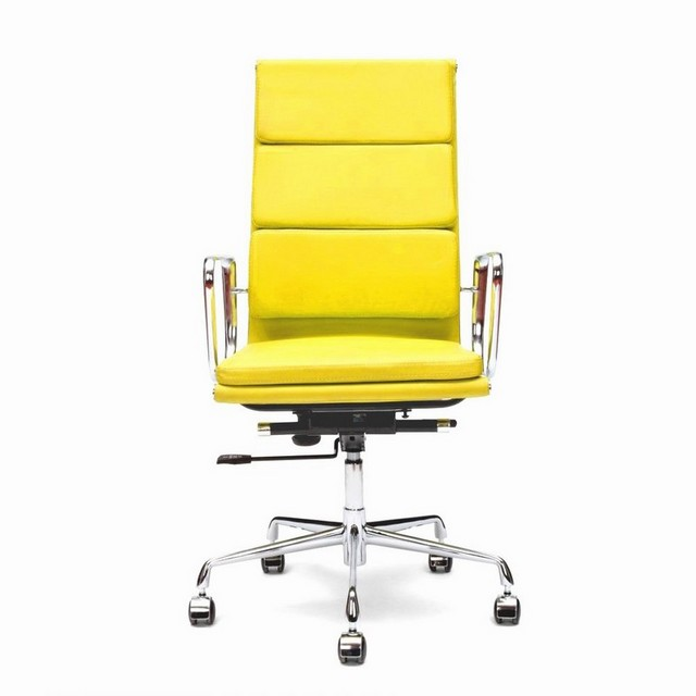 Yellow leather office chair