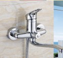 Wall mount kitchen sink faucet with spray