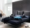 Black wallpaper in bedroom