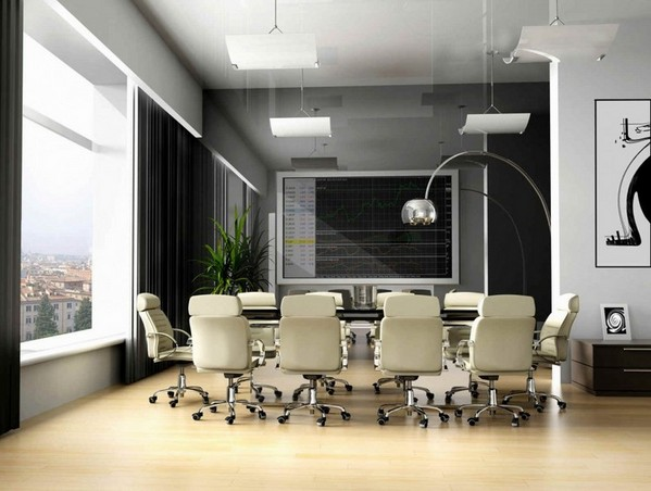 Leather office chair beige