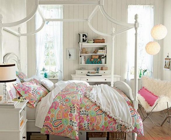 Teenage Girls Canopy Bed Colorful Sets Bedding