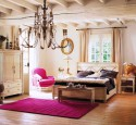 Classic Country Living Bedroom Design With Fuschia Area Rug