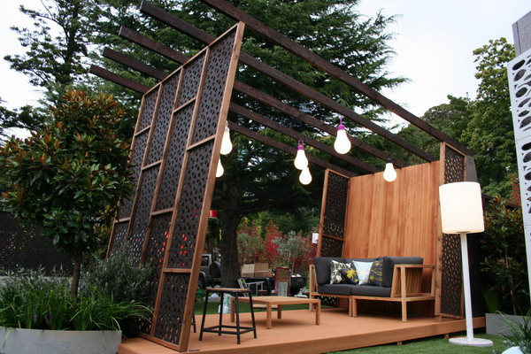 Patio Garden With Decorative Timber Privacy Screens