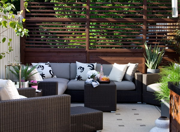 Comfortable Patio With Decorative Timber Privacy Screens