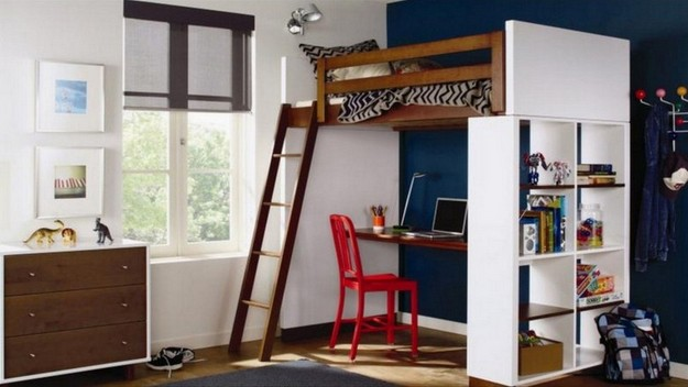 Loft Bed With Desk Bookshelf
