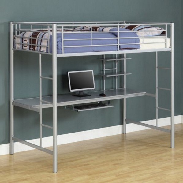 Grey Metal Loft Bed With Desk