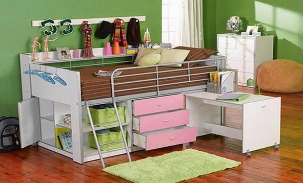 Storage Loft Bed With Desk Espresso