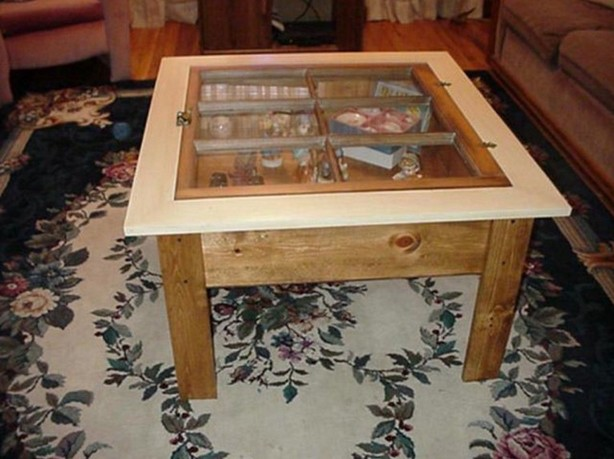 Glass Top Shadow Box Table